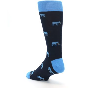Image of Navy Blue Elephants Men's Dress Socks (side-2-back-15)