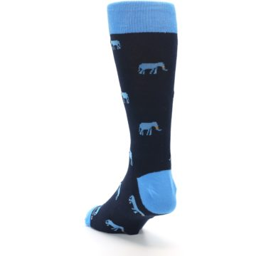 Image of Navy Blue Elephants Men's Dress Socks (side-2-back-16)