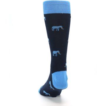 Image of Navy Blue Elephants Men's Dress Socks (back-17)