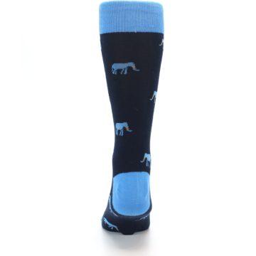 Image of Navy Blue Elephants Men's Dress Socks (back-18)