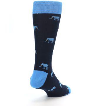 Image of Navy Blue Elephants Men's Dress Socks (side-1-back-21)
