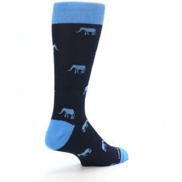 Image of Navy Blue Elephants Men's Dress Socks (side-1-back-22)