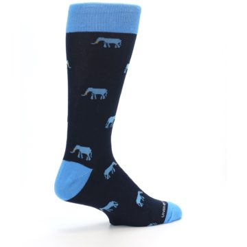 Image of Navy Blue Elephants Men's Dress Socks (side-1-23)