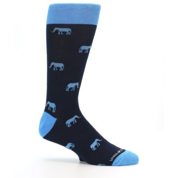 Image of Navy Blue Elephants Men's Dress Socks (side-1-25)