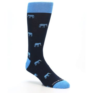 Image of Navy Blue Elephants Men's Dress Socks (side-1-27)