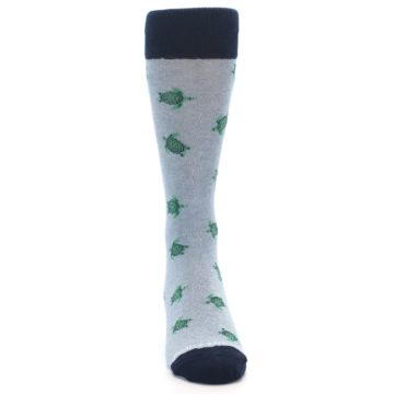 Image of Light Blue Heather Turtles Men's Dress Socks (front-04)