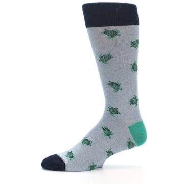 Image of Light Blue Heather Turtles Men's Dress Socks (side-2-11)