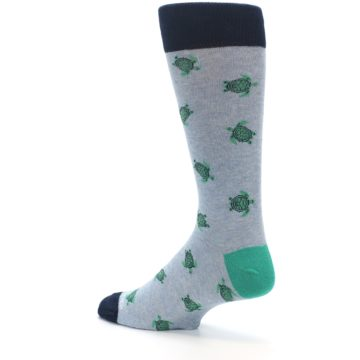 Image of Light Blue Heather Turtles Men's Dress Socks (side-2-back-14)