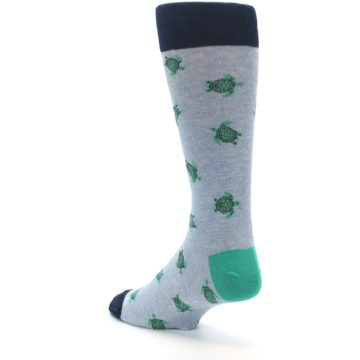 Image of Light Blue Heather Turtles Men's Dress Socks (side-2-back-15)