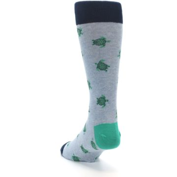 Image of Light Blue Heather Turtles Men's Dress Socks (side-2-back-16)