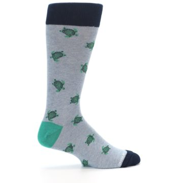 Image of Light Blue Heather Turtles Men's Dress Socks (side-1-24)