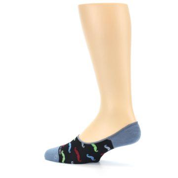 Image of Black Multi Mustache Men's No-Show Socks (side-2-13)