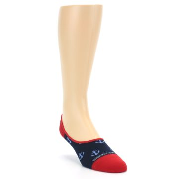 Image of Navy Blue Red Anchor Men's No-Show Socks (side-1-front-02)