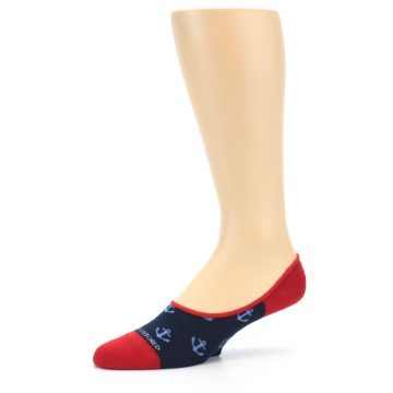 Image of Navy Blue Red Anchor Men's No-Show Socks (side-2-10)