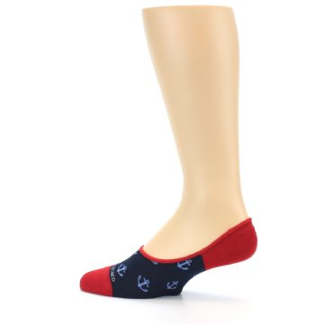 Image of Navy Blue Red Anchor Men's No-Show Socks (side-2-13)