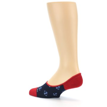 Image of Navy Blue Red Anchor Men's No-Show Socks (side-2-back-14)