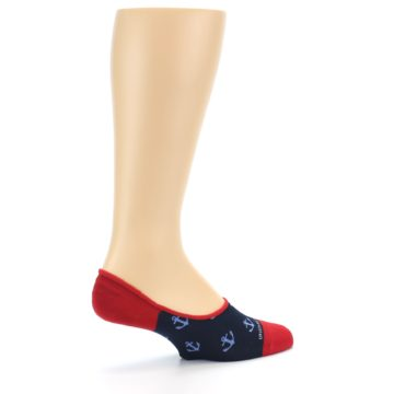 Image of Navy Blue Red Anchor Men's No-Show Socks (side-1-23)