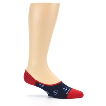 Image of Navy Blue Red Anchor Men's No-Show Socks (side-1-25)