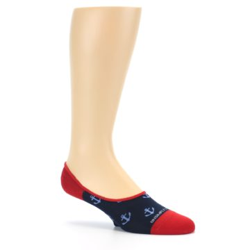 Image of Navy Blue Red Anchor Men's No-Show Socks (side-1-26)