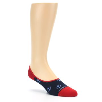 Image of Navy Blue Red Anchor Men's No-Show Socks (side-1-27)