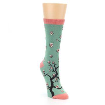 Image of Green Cherry Blossom Women's Bamboo Dress Socks (side-1-front-02)
