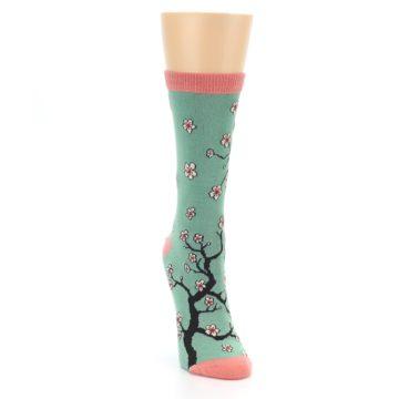 Image of Green Cherry Blossom Women's Bamboo Dress Socks (side-1-front-03)