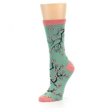 Image of Green Cherry Blossom Women's Bamboo Dress Socks (side-2-09)