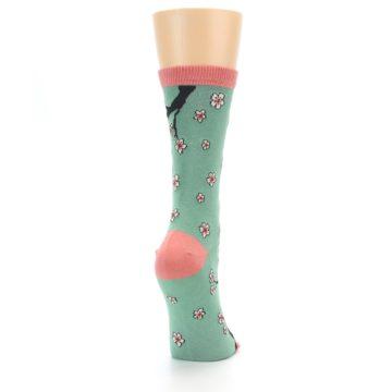 Image of Green Cherry Blossom Women's Bamboo Dress Socks (side-1-back-20)