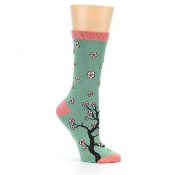 Image of Green Cherry Blossom Women's Bamboo Dress Socks (side-1-26)