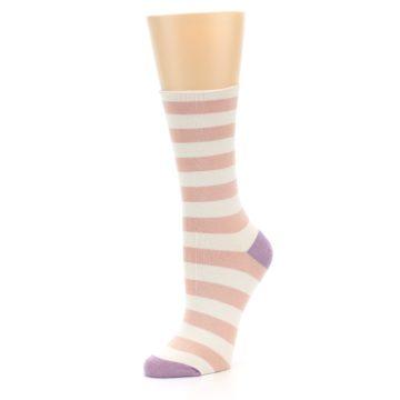 Image of Pink Cream Stripe Women's Bamboo Dress Socks (side-2-09)