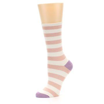 Image of Pink Cream Stripe Women's Bamboo Dress Socks (side-2-10)