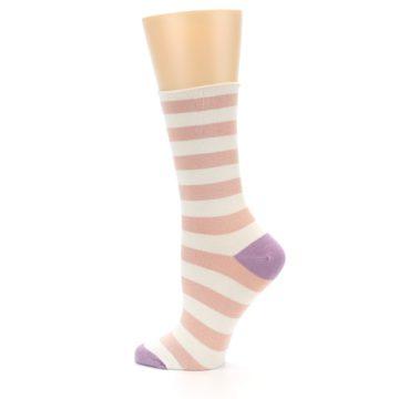 Image of Pink Cream Stripe Women's Bamboo Dress Socks (side-2-13)