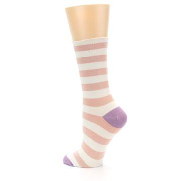 Image of Pink Cream Stripe Women's Bamboo Dress Socks (side-2-back-14)