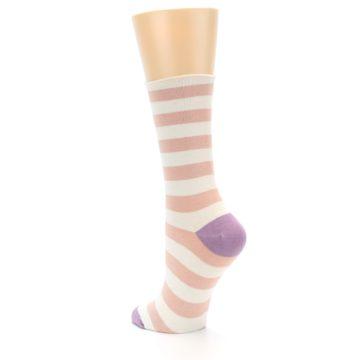 Image of Pink Cream Stripe Women's Bamboo Dress Socks (side-2-back-15)
