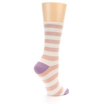 Image of Pink Cream Stripe Women's Bamboo Dress Socks (side-1-23)