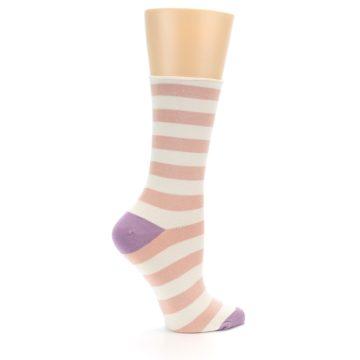 Image of Pink Cream Stripe Women's Bamboo Dress Socks (side-1-24)