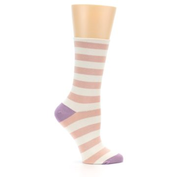 Image of Pink Cream Stripe Women's Bamboo Dress Socks (side-1-25)
