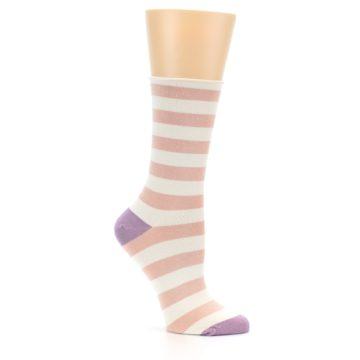 Image of Pink Cream Stripe Women's Bamboo Dress Socks (side-1-26)