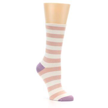 Image of Pink Cream Stripe Women's Bamboo Dress Socks (side-1-27)