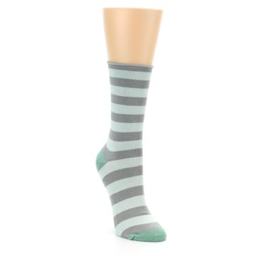 Image of Grey Light Blue Stripe Women's Bamboo Dress Socks (side-1-front-02)