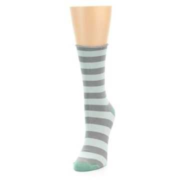 Image of Grey Light Blue Stripe Women's Bamboo Dress Socks (side-2-front-07)