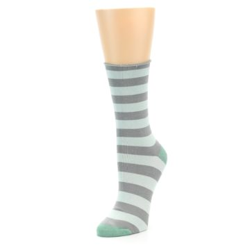 Image of Grey Light Blue Stripe Women's Bamboo Dress Socks (side-2-front-08)