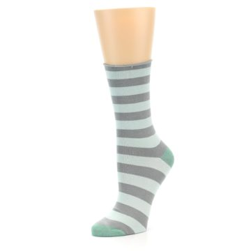 Image of Grey Light Blue Stripe Women's Bamboo Dress Socks (side-2-09)