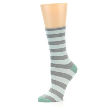 Image of Grey Light Blue Stripe Women's Bamboo Dress Socks (side-2-10)