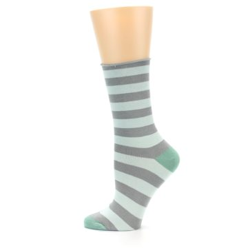 Image of Grey Light Blue Stripe Women's Bamboo Dress Socks (side-2-12)