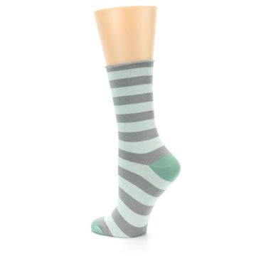 Image of Grey Light Blue Stripe Women's Bamboo Dress Socks (side-2-back-14)