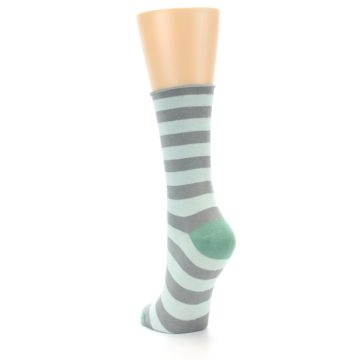 Image of Grey Light Blue Stripe Women's Bamboo Dress Socks (side-2-back-16)