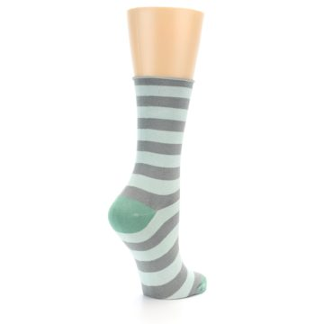 Image of Grey Light Blue Stripe Women's Bamboo Dress Socks (side-1-back-22)