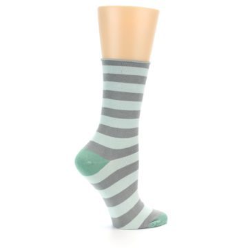 Image of Grey Light Blue Stripe Women's Bamboo Dress Socks (side-1-24)