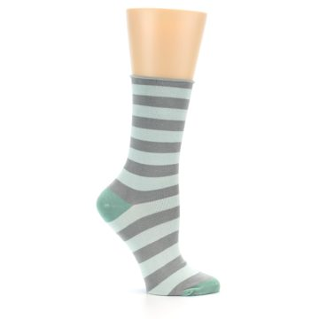 Image of Grey Light Blue Stripe Women's Bamboo Dress Socks (side-1-25)